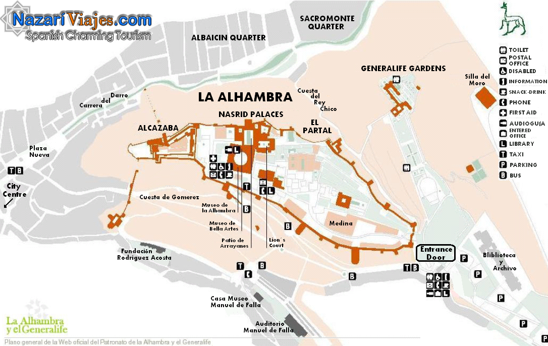 Map And Plan Of The Alhambra And The Generalife Gardens Of